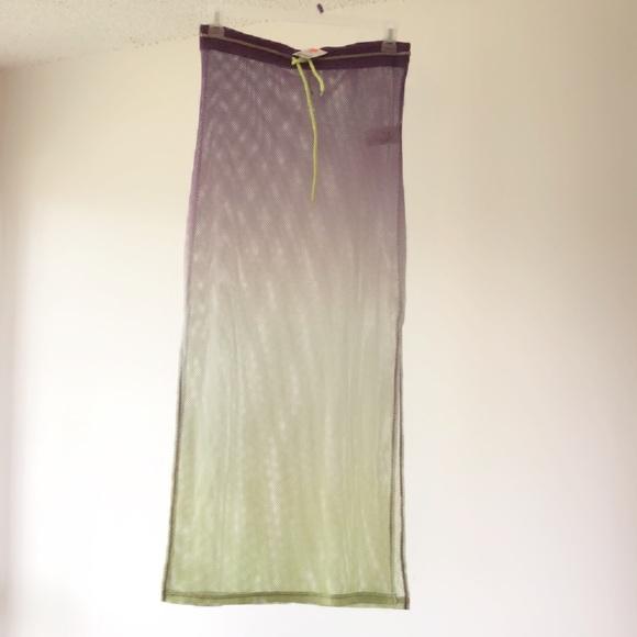 05947d8908a New purple   neon green fishnet beach skirt